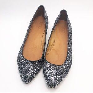 Madewell Hematite Glitter Sidewalk Skimmer Flats